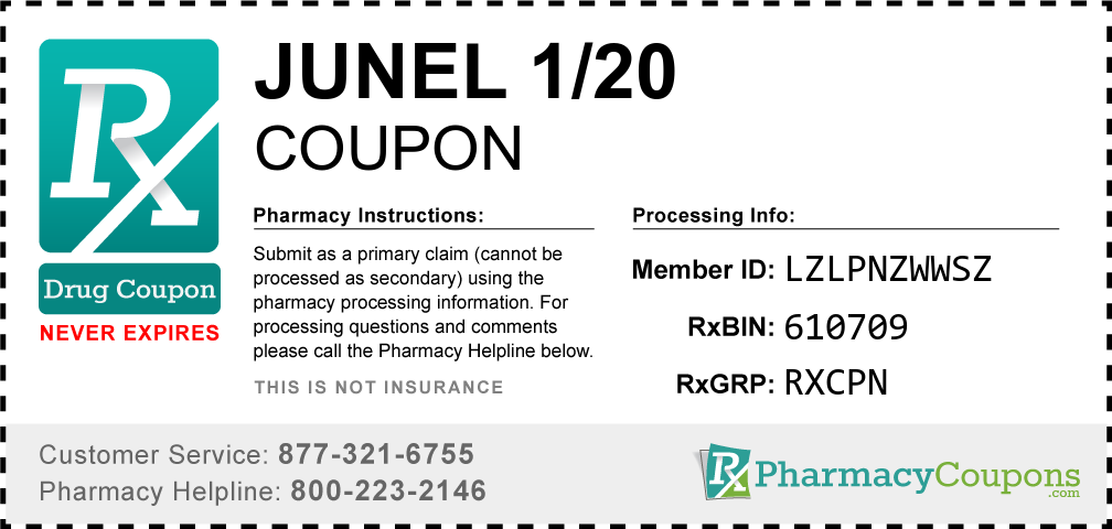 Junel 1/20 Prescription Drug Coupon with Pharmacy Savings