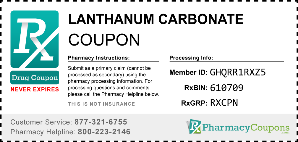 Lanthanum carbonate Prescription Drug Coupon with Pharmacy Savings