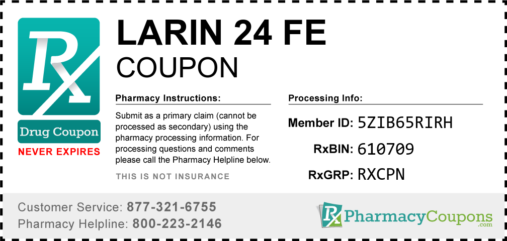 Larin 24 fe Prescription Drug Coupon with Pharmacy Savings