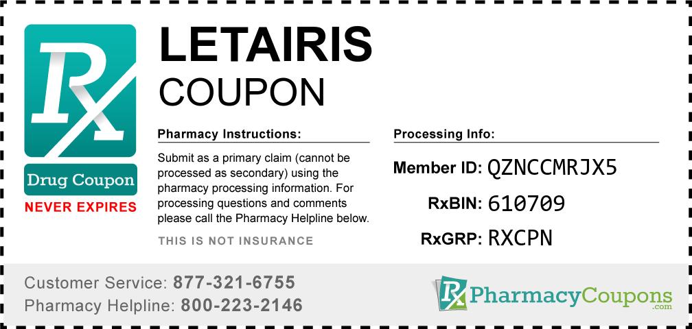 Letairis Prescription Drug Coupon with Pharmacy Savings