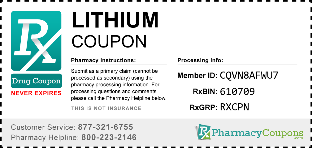 Lithium Prescription Drug Coupon with Pharmacy Savings