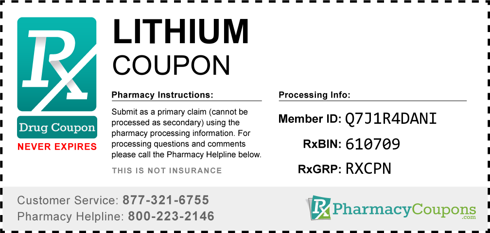 Lithium Prescription Drug Coupon with Pharmacy Savings