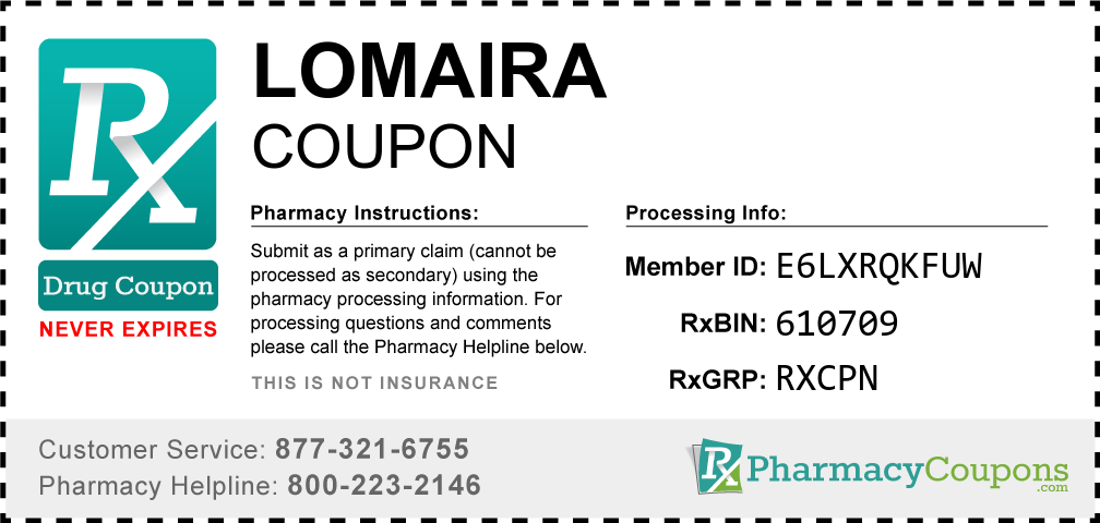 Lomaira Prescription Drug Coupon with Pharmacy Savings