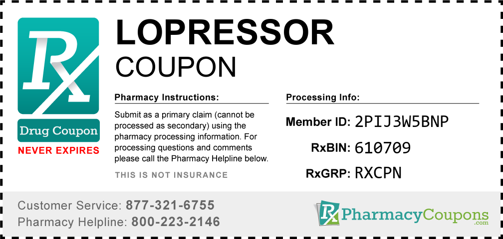 Lopressor Prescription Drug Coupon with Pharmacy Savings