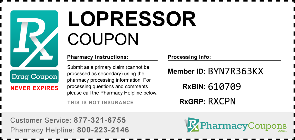 Lopressor Prescription Drug Coupon with Pharmacy Savings