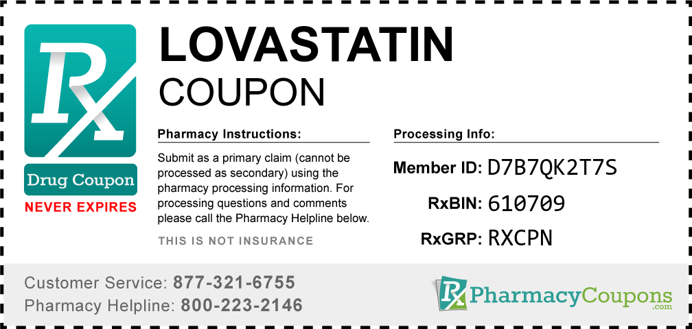 Lovastatin Prescription Drug Coupon with Pharmacy Savings