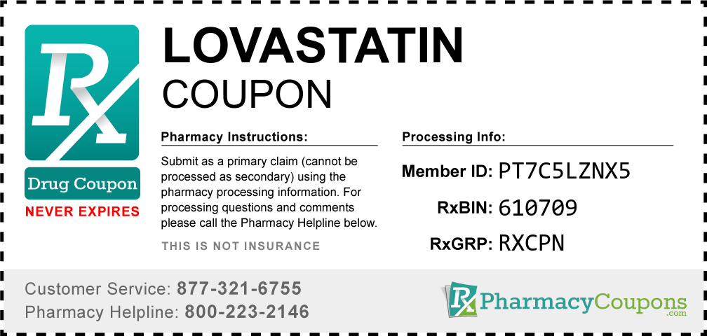 Lovastatin Prescription Drug Coupon with Pharmacy Savings