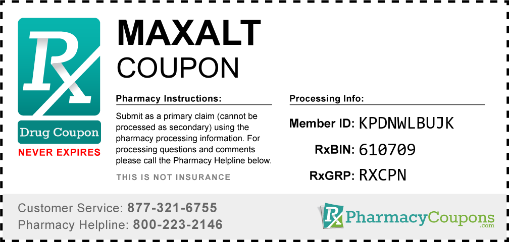 Maxalt Prescription Drug Coupon with Pharmacy Savings