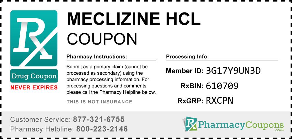 Meclizine hcl Prescription Drug Coupon with Pharmacy Savings