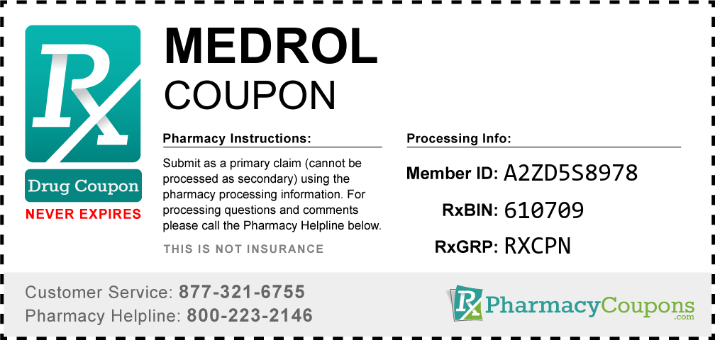 Medrol Prescription Drug Coupon with Pharmacy Savings