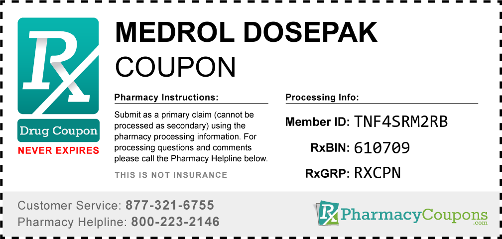 Medrol dosepak Prescription Drug Coupon with Pharmacy Savings