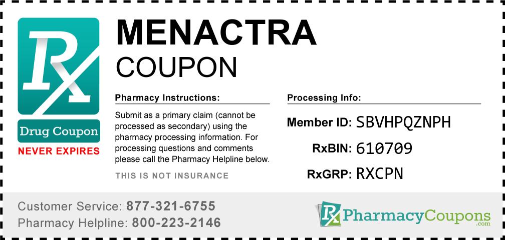 Menactra Prescription Drug Coupon with Pharmacy Savings