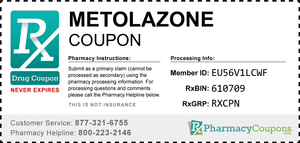 Metolazone Prescription Drug Coupon with Pharmacy Savings
