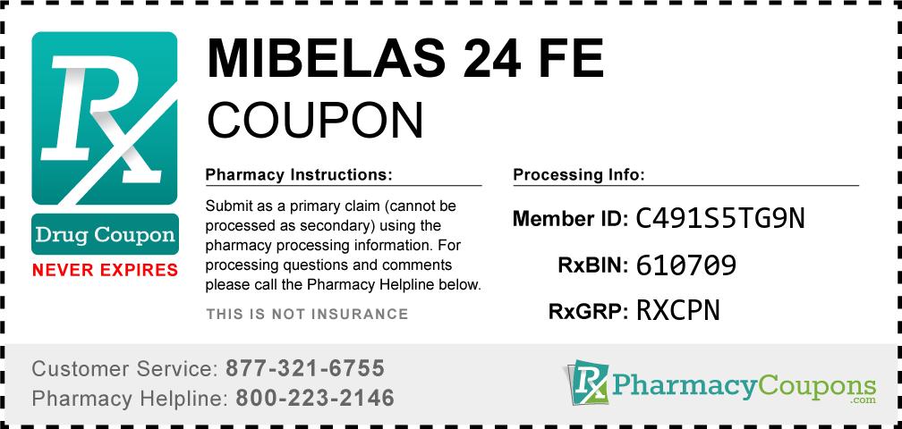 Mibelas 24 fe Prescription Drug Coupon with Pharmacy Savings