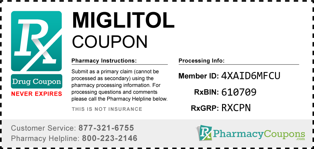 Miglitol Prescription Drug Coupon with Pharmacy Savings