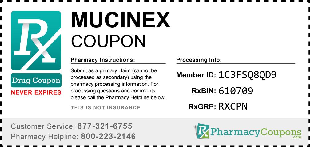 Mucinex Prescription Drug Coupon with Pharmacy Savings