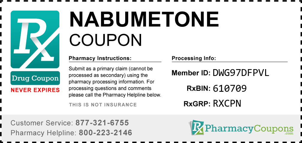 Nabumetone Prescription Drug Coupon with Pharmacy Savings
