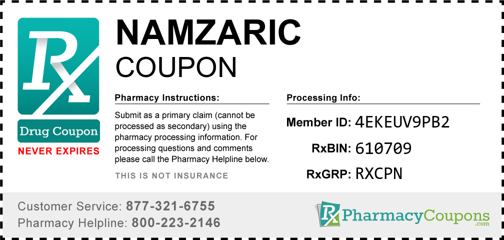 Namzaric Prescription Drug Coupon with Pharmacy Savings