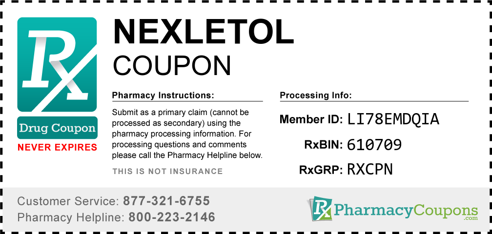 Nexletol Prescription Drug Coupon with Pharmacy Savings