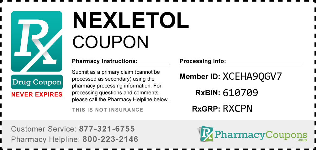Nexletol Prescription Drug Coupon with Pharmacy Savings