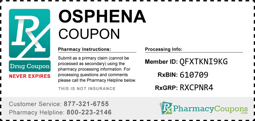 Osphena Prescription Drug Coupon with Pharmacy Savings