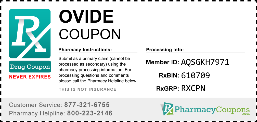 Ovide Prescription Drug Coupon with Pharmacy Savings