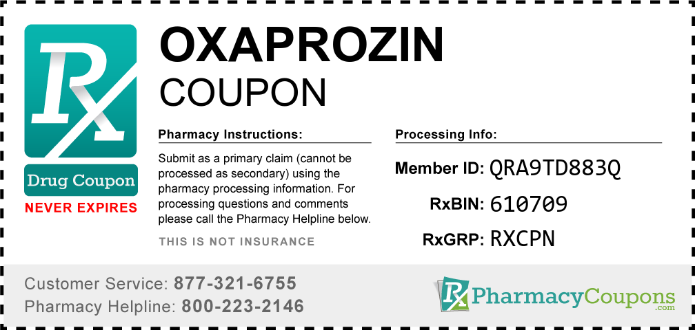 Oxaprozin Prescription Drug Coupon with Pharmacy Savings