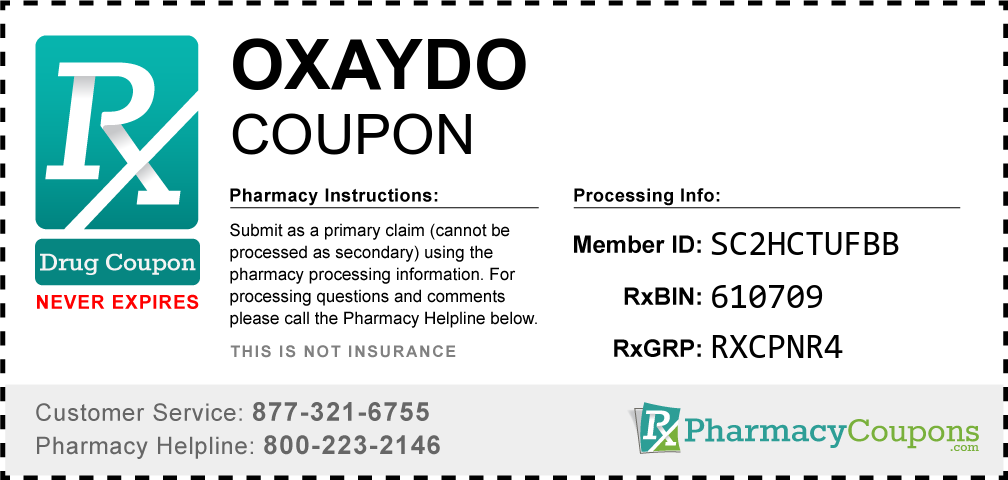 Oxaydo Prescription Drug Coupon with Pharmacy Savings