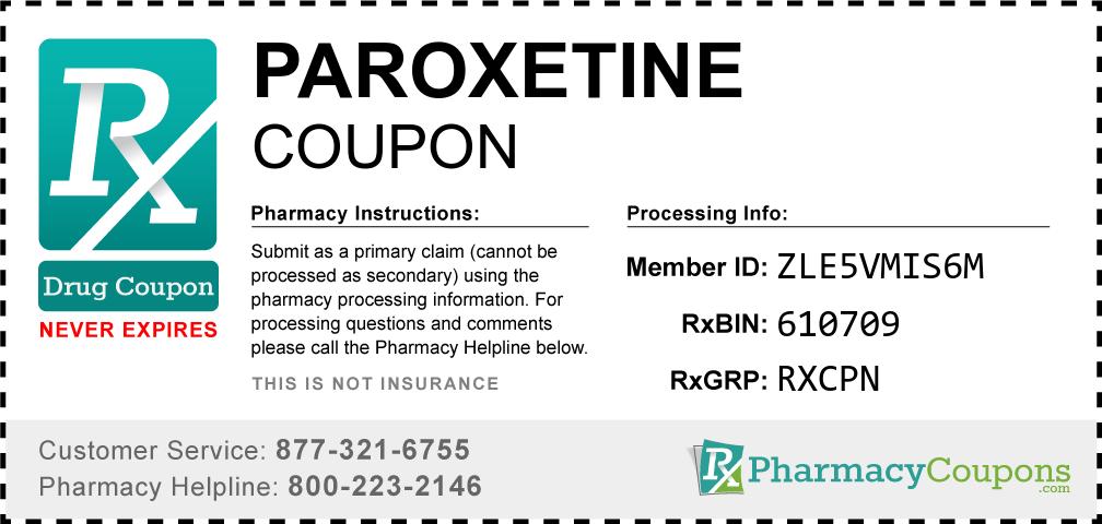 Paroxetine hcl Prescription Drug Coupon with Pharmacy Savings