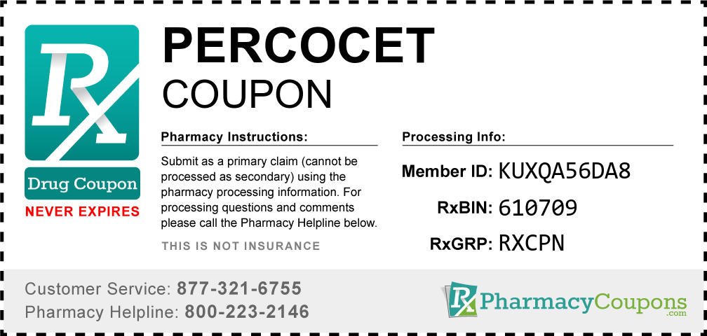 Percocet Prescription Drug Coupon with Pharmacy Savings