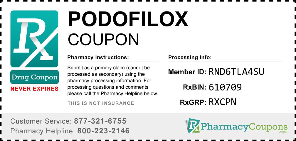 Podofilox Prescription Drug Coupon with Pharmacy Savings