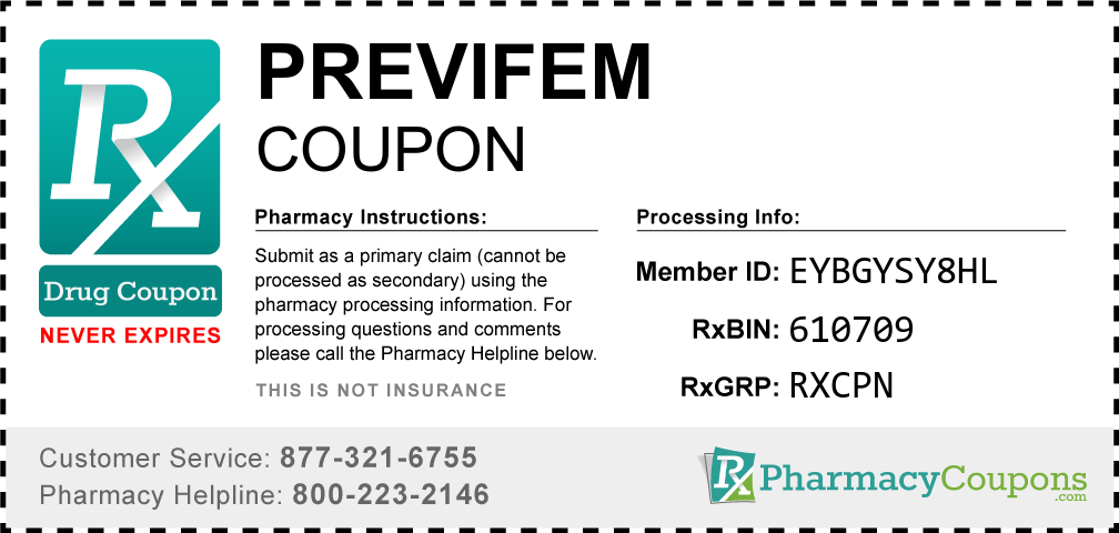 Previfem Prescription Drug Coupon with Pharmacy Savings