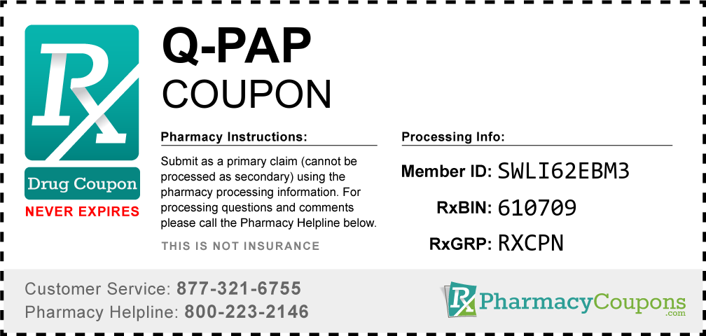 Q-pap Prescription Drug Coupon with Pharmacy Savings