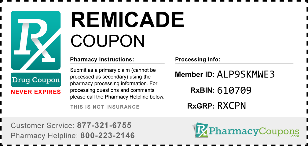 Remicade Prescription Drug Coupon with Pharmacy Savings