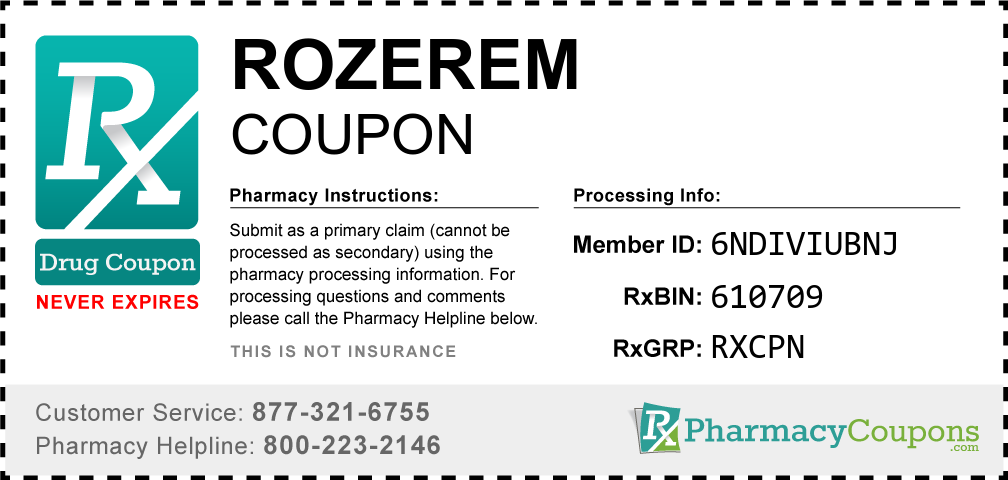 Rozerem Prescription Drug Coupon with Pharmacy Savings