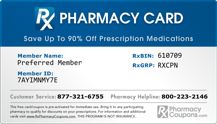 Discount Prescription Card for Generic and Brand Name Drug Savings