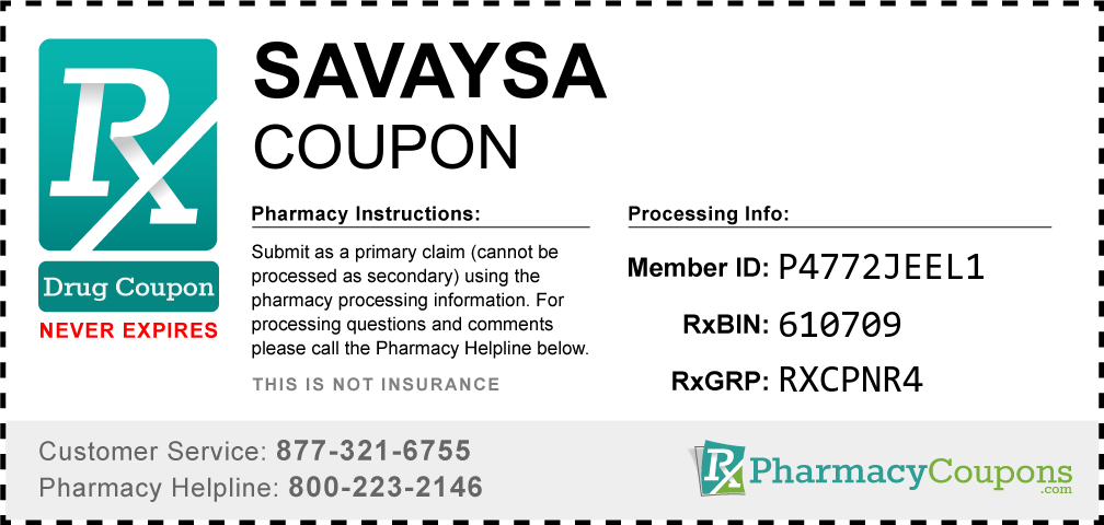 Savaysa Prescription Drug Coupon with Pharmacy Savings
