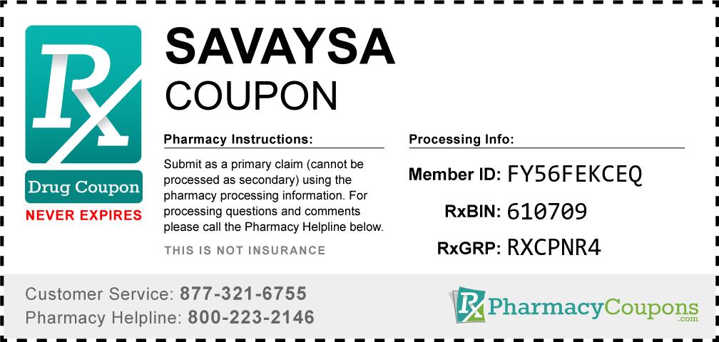 Savaysa Prescription Drug Coupon with Pharmacy Savings