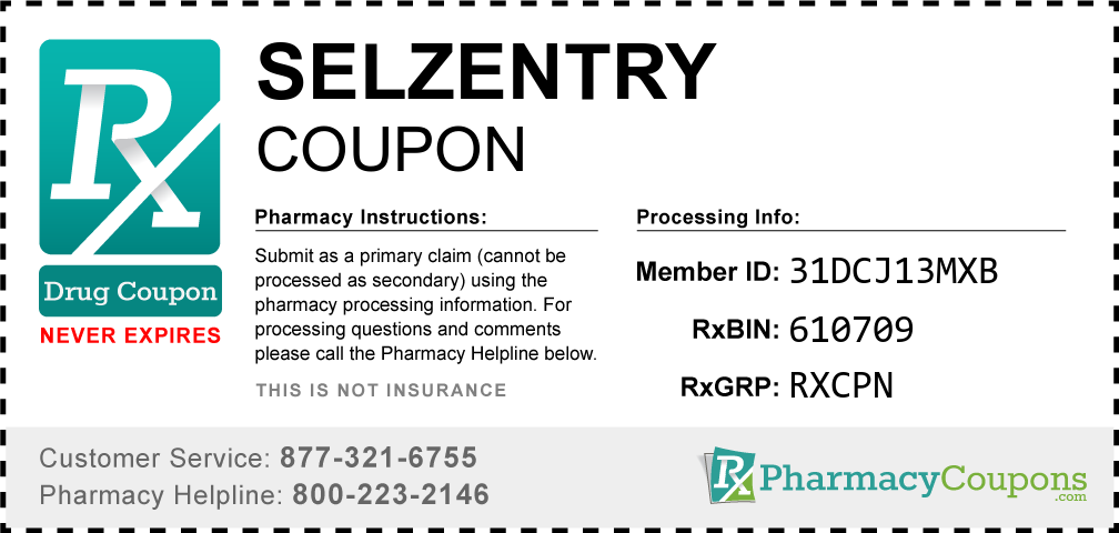 Selzentry Prescription Drug Coupon with Pharmacy Savings