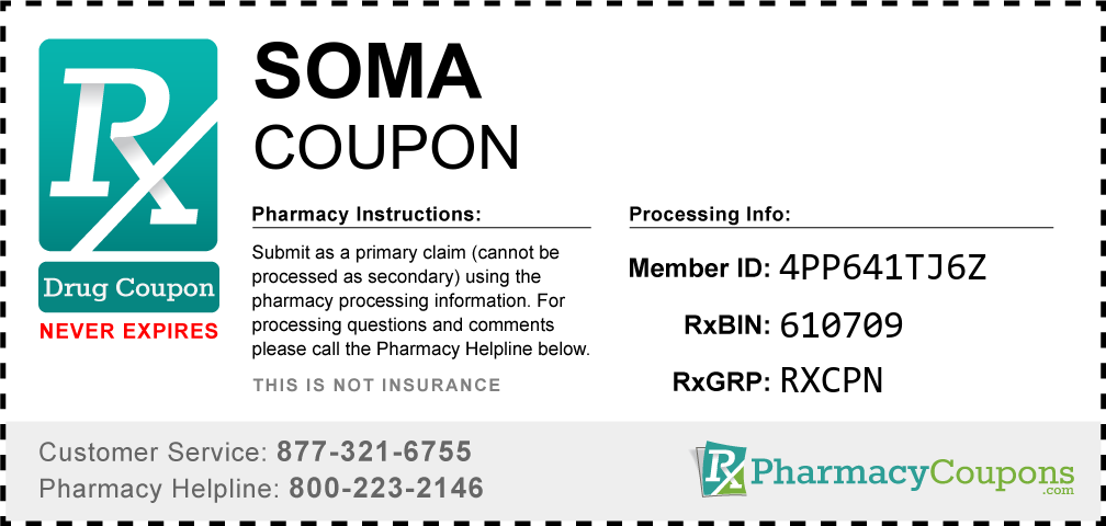 Soma Prescription Drug Coupon with Pharmacy Savings