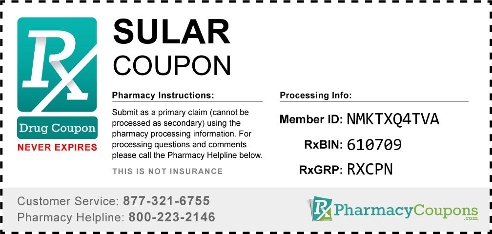 Sular Prescription Drug Coupon with Pharmacy Savings