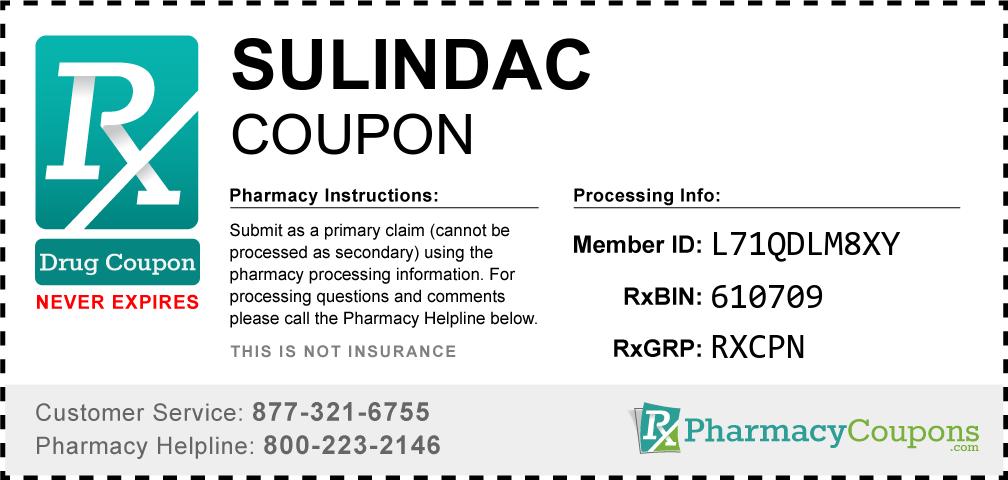 Sulindac Prescription Drug Coupon with Pharmacy Savings