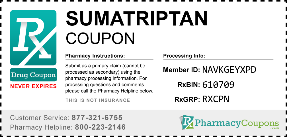 Sumatriptan Prescription Drug Coupon with Pharmacy Savings