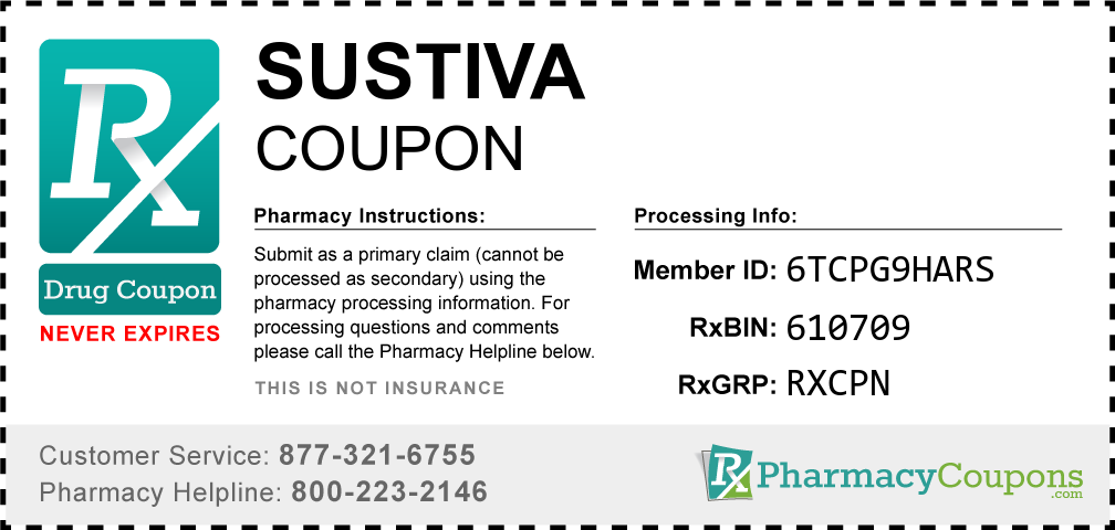 Sustiva Prescription Drug Coupon with Pharmacy Savings