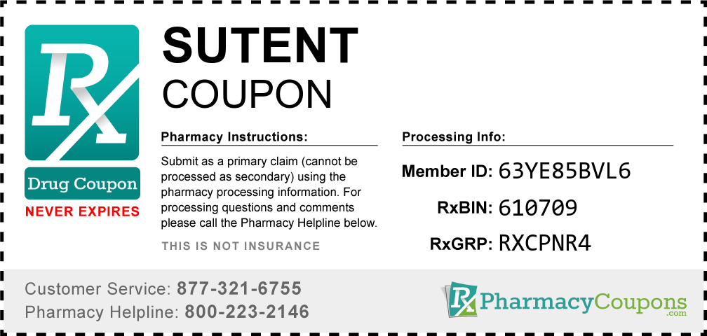 Sutent Prescription Drug Coupon with Pharmacy Savings