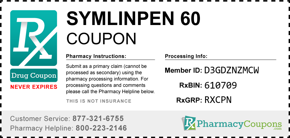 Symlinpen 60 Prescription Drug Coupon with Pharmacy Savings