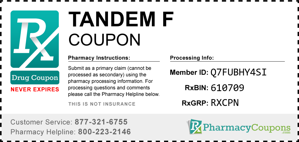Tandem f Prescription Drug Coupon with Pharmacy Savings