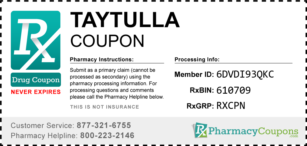 Taytulla Prescription Drug Coupon with Pharmacy Savings