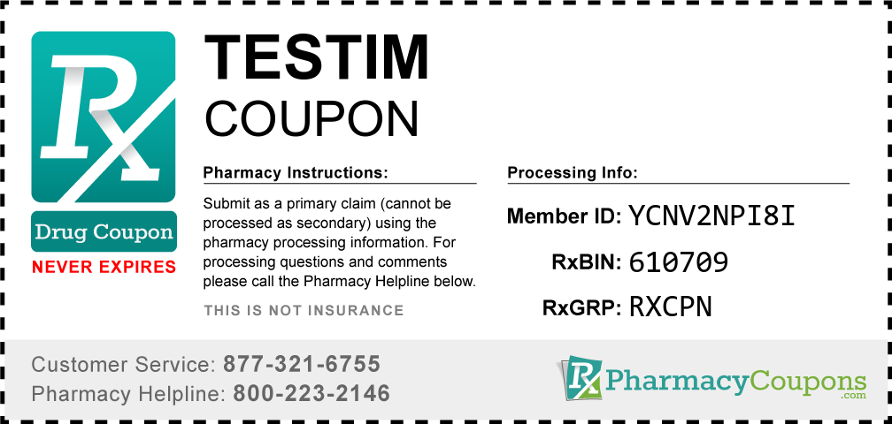 Testim Prescription Drug Coupon with Pharmacy Savings