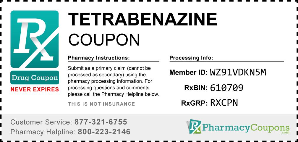 Tetrabenazine Prescription Drug Coupon with Pharmacy Savings